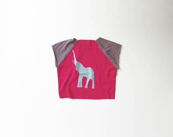 Elephant | Organic Jersey Cotton Tee | Kids Cap Sleeve | Toddler Short Sleeve Shirt | Babies Natural Cotton Shirt | Screenprinted | Hipster