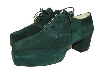 Vintage John Fluevog Shoes Womens Green Suede Square Toe Platform Shoes Made In England Euro Size 5 Fits Wms US Size 7