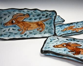 Ceramic Spoon Rest - Ceramic Tray - Dachshund - Wiener Dog - Pottery Tray Small - Majolica Tray Dish - Brown Dog - Sushi Tray - Butter Dish
