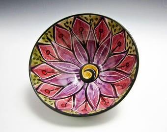 Small  Serving Ceramic Bowl - Pottery Bowl - Pink Purple Lotus Flower - Prep Bowl - Majolica Bowl - Cereal Bowl - Gift for Her - Mandala