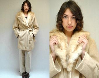 70s Fur Collar Coat  //  Wool Coat  //  Wool Trench Coat  //  THE WRAP