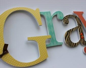 Baby Girl Wooden Letters, Safari Theme, Wood Wall Name Sign, Animal Prints, Jungle Room Decor, Brown Orange Aqua Yellow