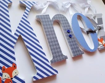Baby Name Letters, Wooden Nursery Letters, KnoxTheme, Foxes and Blue and Grey, Baby Boy, Nursery decor, Custom Name Letters, Personalized