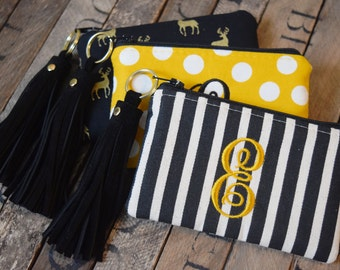 Chic Initial Coin Bags with Leather Tassel, Black Striped Coin Purse, Coin Purse, Coin Bag, Bridesmaids Gift, Coin Wallet, Teachers Gift