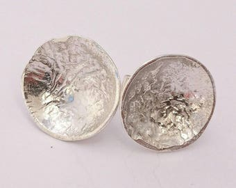 Sterling silver handmade rituclated silver disc earrings, hallmarked in Edinburgh