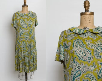 vintage 1960s green paisley drop waist dress