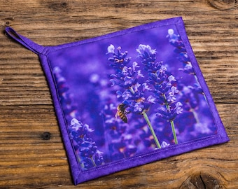 Lavender with Bee Photo Pot Holder, Hot Pad, Handmade