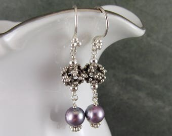 Purple pearl & sterling silver bead earrings, handmade June birthstone jewelry