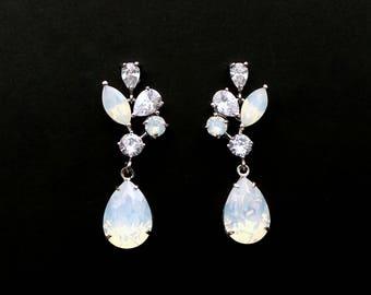 Wedding jewelry bridal party prom christmas gift multi shape cluster AAA cubic zirconia post earrings vine rhodium swarovski white opal drop
