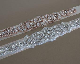 Rose Gold Bridal Sash,Silver Bridal Sash,Rhinestones Bridal sash , Wedding Sash crystals, Wedding crystals Belt, crystals rhinestone belt