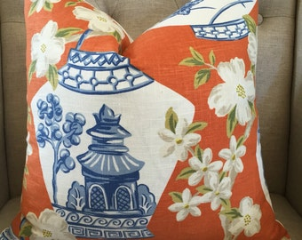 "Jaclyn Smith Asian print pillow cover - 18""X18"" - Pattern on the front"