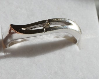 Modern Style Sterling Silver Ring /  Size 11