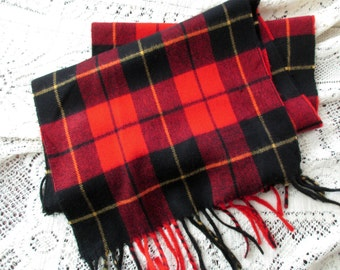 vintage Christian Dior cashmaire plaid scarf- Made in Japan, warm, winter, red and black