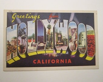 vintage large letter postcard - Greetings from HOLLYWOOD - big letter linen postcard - circa 1950s, unused - pc338