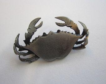 vintage METZKE brooch - CRAB - cancer sign, zodiac Cancer - signed brooch, crab pin