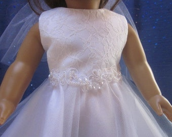 lace and tulle doll dress with keyhole back with fit 18 inch dolls such as American Girl