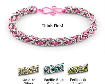 2 Color Byzantine Chainmaille Bracelet Kit - Enameled Copper and Bright Aluminum