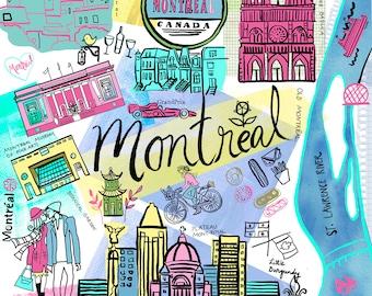 Montreal Canada Quebec Travel Map wall art wall Print icons home decor by Farida Zaman