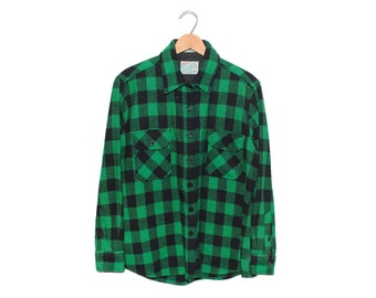 Vintage Outdoor Exchange Bright Green & Black Buffalo Checkered Wool Flannel Button Up Shirt - XL (os-bds-4)