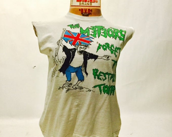 Vintage The Meteors Forget the Restabilly Tour 1984 Cut-Off Tee Shirt (os-ts-85)