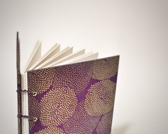 violet with gold mums coptic bound writing journal - bullet journal notebook - cute drawing sketchbook - dot grid journal - graph paper book