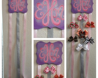 custom painted MONOGRAM BOW holder with ribbon