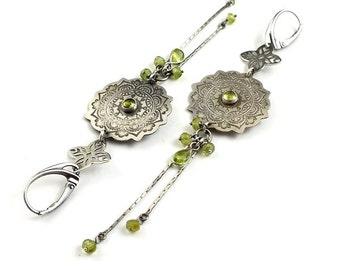 Peridot earring, long silver earring, etched silver, mandala earring,metalwork jewelry