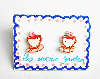 Teacup Earrings, Cup of Tea Studs, Red, Pink, Shrink Plastic, Gift for Her, For Mum, Jewellery, Mother's Day
