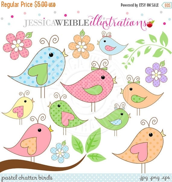ON SALE Pastel Chatter Birds Cute Digital Clipart - Commercial Use OK - Pretty Bird Clipart, Spring Bird Graphics