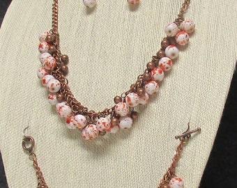 Three piece Orange and Copper Necklace Set #20112 CHRISTMAS SALE!