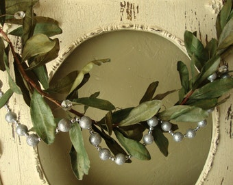 Magnolia leaves garland and silver bead garland Christmas Elegant and simple Cottage Chic Christmas home decor