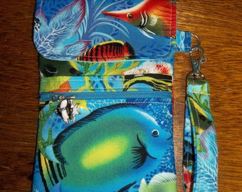 Blue Tropical Fish Cell Phone Case/Wristlet