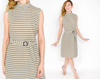 60s Striped Dress | Tan White Knit Sleeveless Shift Dress | Small