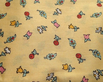 Buttery Yellow Floral Quilting Fabric