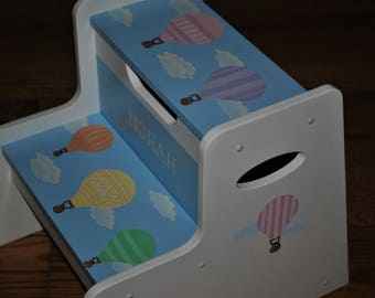 New For 2017 -Kids Step Stool -Hot Air Balloons -Childrens Step Stool -Hand Painted - Step Stool-Baby Shower-Kids' Furniture-Chair-Baby Gift