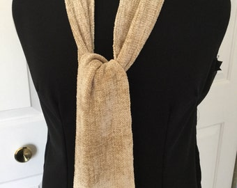 Handwoven Oatmeal Colored Rayon Chenille Scarf
