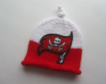 TAMPA BAY Hand Knit Baby Hat, Tampa Bay Bucs Baby Hat, Knit Baby Hat, Baby Hat, Tampa Bay Buccaneers Baby Hat, Florida Baby, Football Hat