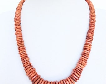 Vintage apple coral Necklace Graduated Geometric Beads fabulous necklace