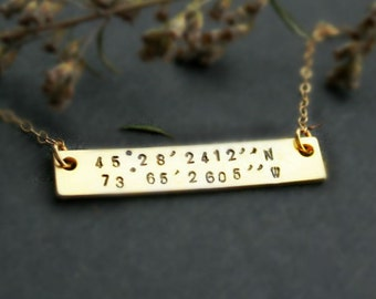 Gold bar necklace, Custom coordinate necklace, Personalized Bar jewelry, Bar with coordinates, Latitude longitude jewelry, Location Necklace