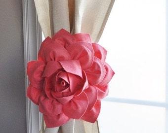SALE Curtain Tiebacks / Two Flower Window Treatments / Curtain Holdback / Drapery Tie Back / Coral Home Decor / Curtain / Curtain Tie