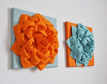 Art Orange Teal Blue, Textured Artwork, Fiber Art, Orange Wall Art, Flower