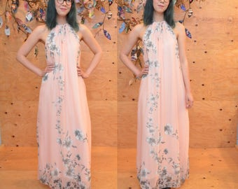 vintage dreamy floaty peach blush pink floral halter maxi dress small