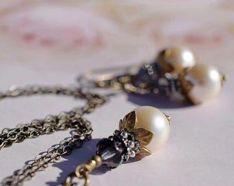Leaf Petal Pearl Earrings Victorian Cream Pearl Pendant Jane Austen Jewelry Black Diamond Swarovski Crystal Bridal Set Wedding Antique Brass