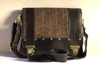 """Ready to Ship medium messenger bag in espresso with herringbone print """"The Uptown"""""""