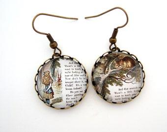 Alice in Wonderland Earrings, Alice Earrings, Alice in Wonderland Jewellery, Cheshire Cat Earrings, Literary Gift UK, Wonderland Gift