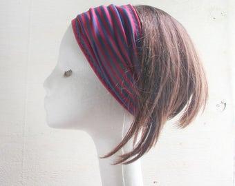 Stretchy Headband, Yoga headband, Lycra, Stripes, Red, Navy, swimming, Summer headband, Beach Head wrap, sports lycra headband