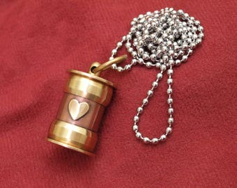 Cremation jewelry, ashes necklace, copper and brass