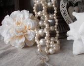 RESERVED for L. Set of 4 Exclusive tiebacks with faux perles vintage drops, curtain holders, drapery holders