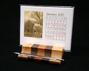 2017 Desk Calendar and Wooden Holder with Sepia Toned Photos