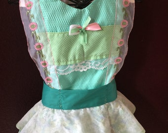 Apron  Couture Handmade  Butterfly Garden full bib apron By Trish Vernazza